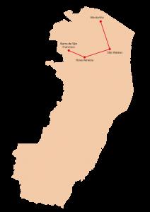 A Rota 1 da Reitoria Itinerante do Ifes inclui os campi Barra de São Francisco, Nova Venécia, São Mateus e Montanha.