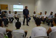 Reitor do Ifes é recebido por alunos e servidores na Reitoria Itinerante.